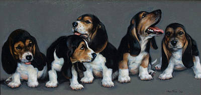 Painting - Hound Puppies by Meridith Martens