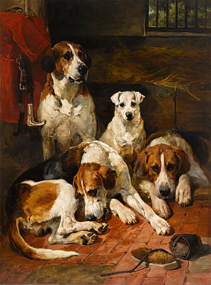 Sniffing Painting - Hounds And A Terrier In A Kennel by John Emms