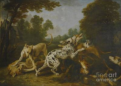 Dog In Landscape Painting - Hounds Fighting In A Village by MotionAge Designs