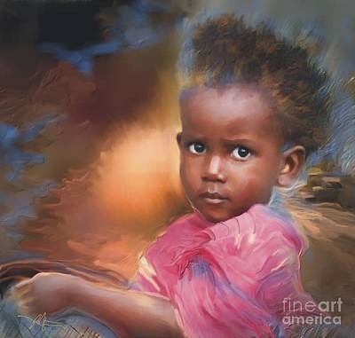 African Child Painting - Hour Of Need by Bob Salo