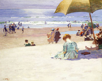 Umbrellas On The Beach Painting - Hour Tide by Edward Henry Potthast