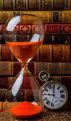 Photograph - Hourglass And Pocket Watch by Garry Gay
