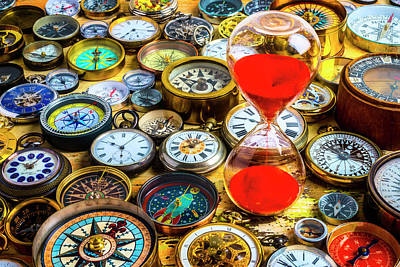Photograph - Hourglass And Watches And Compasses by Garry Gay