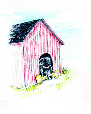 German Sheppard Mixed Media - House And Bone by Dorothy Hilde