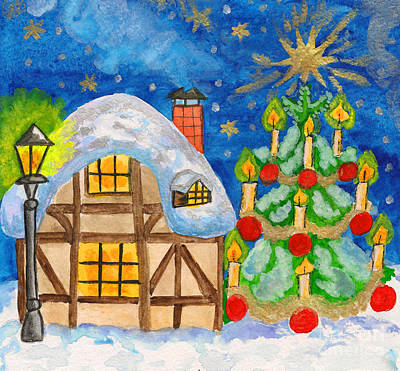 Painting - House And Christmas Tree, Hand Painted Christmas Picture by Irina Afonskaya