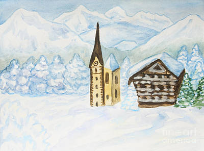 Painting - House And Church In Winter Hills by Irina Afonskaya