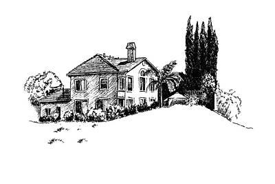 Drawing - House And Cypresses by Masha Batkova