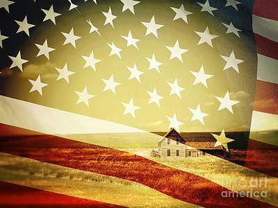 Photograph - House And Flag Double Exposure by Iryna Liveoak