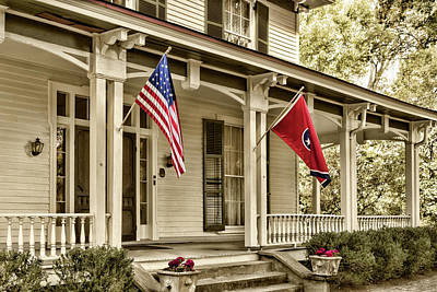 Photograph - House And Flags by Sharon Popek