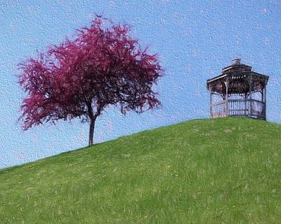 Digital Art - Cherry Blossom Gazebo by Leslie Montgomery