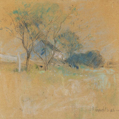 Pastel - House And Tree by John Henry Twachtman