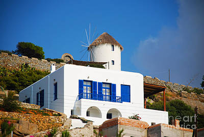 Greece Photograph - House And Windmill - Mykonos Island Greece by Just Eclectic