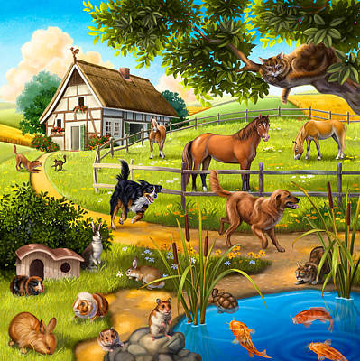 Painting - House Animals by Anne Wertheim