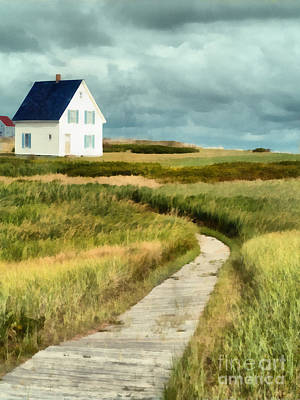 Maine Cottage Painting - House At The End Of The Boardwalk by Edward Fielding