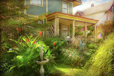 Photograph - House - Bevidere Nj - Country Garden by Mike Savad