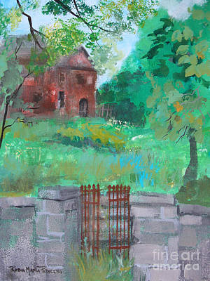 Painting - House Beyond Rusted Gate by Robin Maria Pedrero