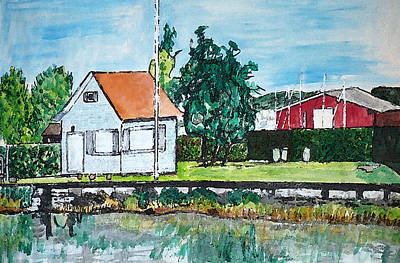 House By The Lake Art Print by Monica Engeler