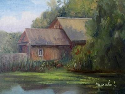 Russianartist Painting - House By The Pond by Anna Shurakova
