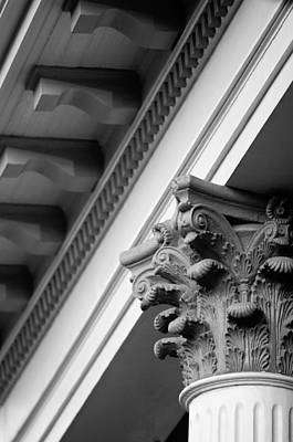 Photograph - House Column Black And White by Jill Reger