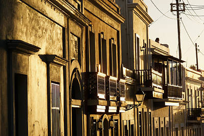 House Facades Gilded By The Setting Sun Old San Juan Puerto Rico Art Print by George Oze