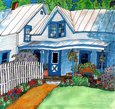 House Fence And Flowers Art Print by Linda Marcille