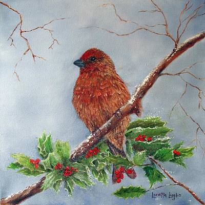Painting - House Finch In Winter by Loretta Luglio