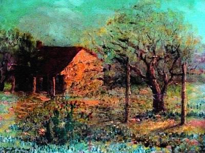 Celebrity Watercolors - House In A Flower Field H B by Gert J Rheeders
