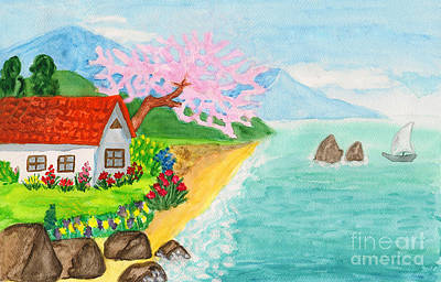 House In Crimea, Painting Original by Irina Afonskaya