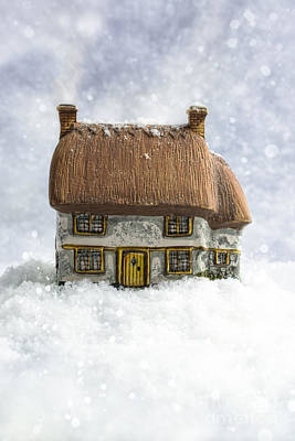 Thatched Photograph - House In Snow by Amanda Elwell
