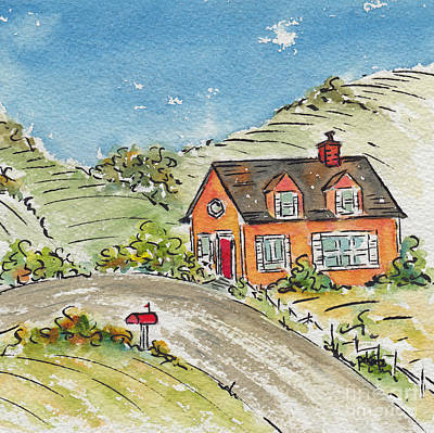 Farm And Barns Painting - House In The Country by Pat Katz