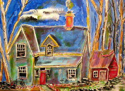 Litvack Naive Painting - House In The Woods by Michael Litvack