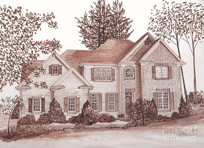 Drawing - House In The Woods by Michelle Welles