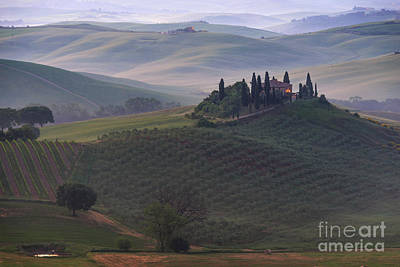Photograph - House In Tuscany In The Morning Fog by IPics Photography