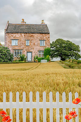 Country Cottage Photograph - House In Wheat Field by Amanda Elwell