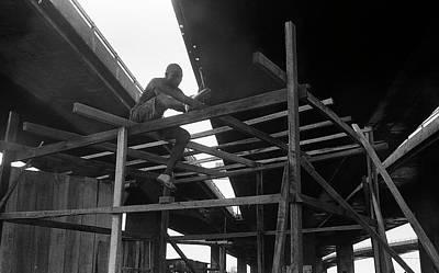 Photograph - Wooden House Construction by Muyiwa OSIFUYE