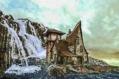 Digital Art - House Near Waterfall by PixBreak Art