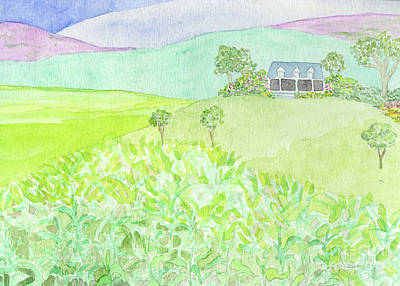 Painting - House On A Hill by Anne Marie Brown