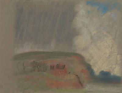 Pastel - House On Hillside by Arthur Bowen Davies