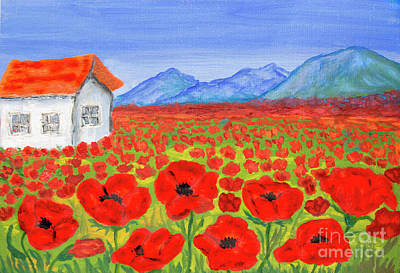 Painting - House On Meadow With Red Poppies, Painting by Irina Afonskaya