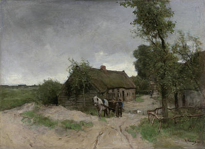 Realist Painting - House On The Dirt Road by Anton Mauve