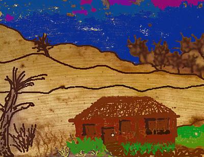 Mixed Media - House On The Hill - Banana Peel Art by Claudia Goodell