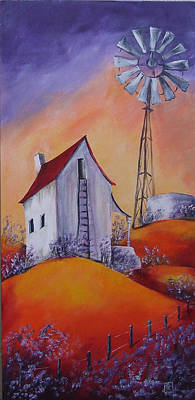 South African Artist Painting - House On The Hill by Kareni Bester
