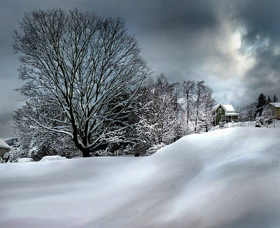 Photograph - House On The Hill Winters In Vermont by Nancy Griswold