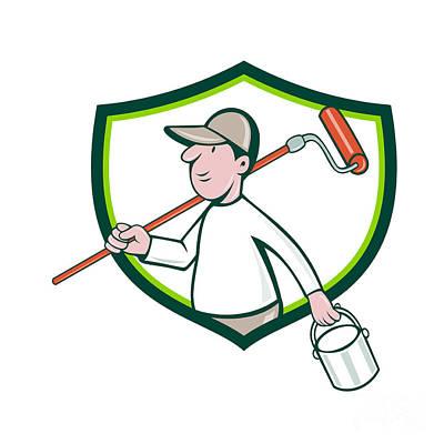 House Painter Digital Art - House Painter Paint Roller Can Shield Cartoon by Aloysius Patrimonio