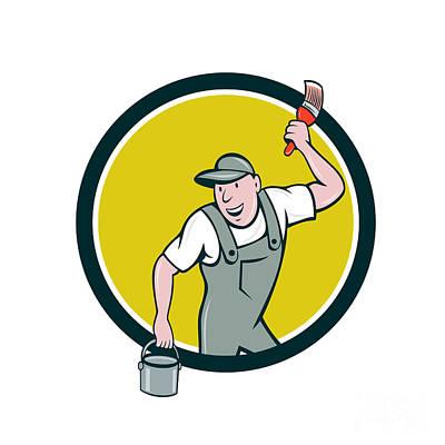House Painter Digital Art - House Painter Paintbrush Paint Bucket Circle Cartoon by Aloysius Patrimonio