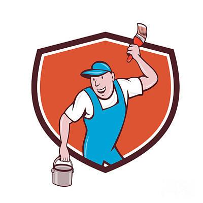 House Painter Digital Art - House Painter Paintbrush Paint Bucket Crest Cartoon by Aloysius Patrimonio