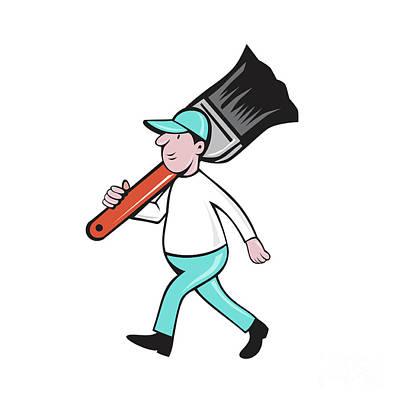 House Painter Digital Art - House Painter Paintbrush Walking Cartoon by Aloysius Patrimonio