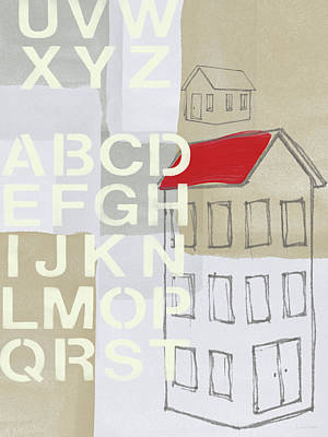 Red Roof Painting - House Plans- Art By Linda Woods by Linda Woods