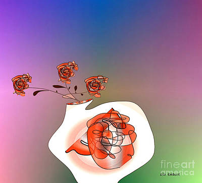 Digital Art - House Plant In Orange by Iris Gelbart