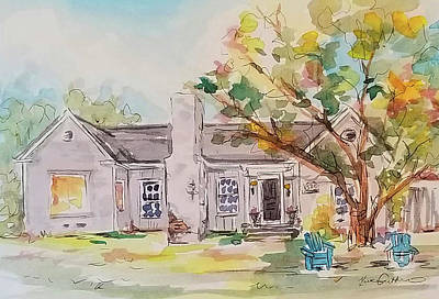 Wall Art - Painting - House Portrait Texas Historic Neighborhood by Kim Guthrie